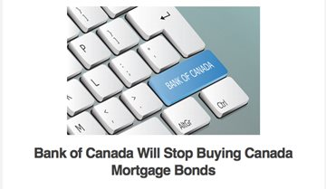 Bank of Canada Will Stop Buying Canada Mortgage Bonds